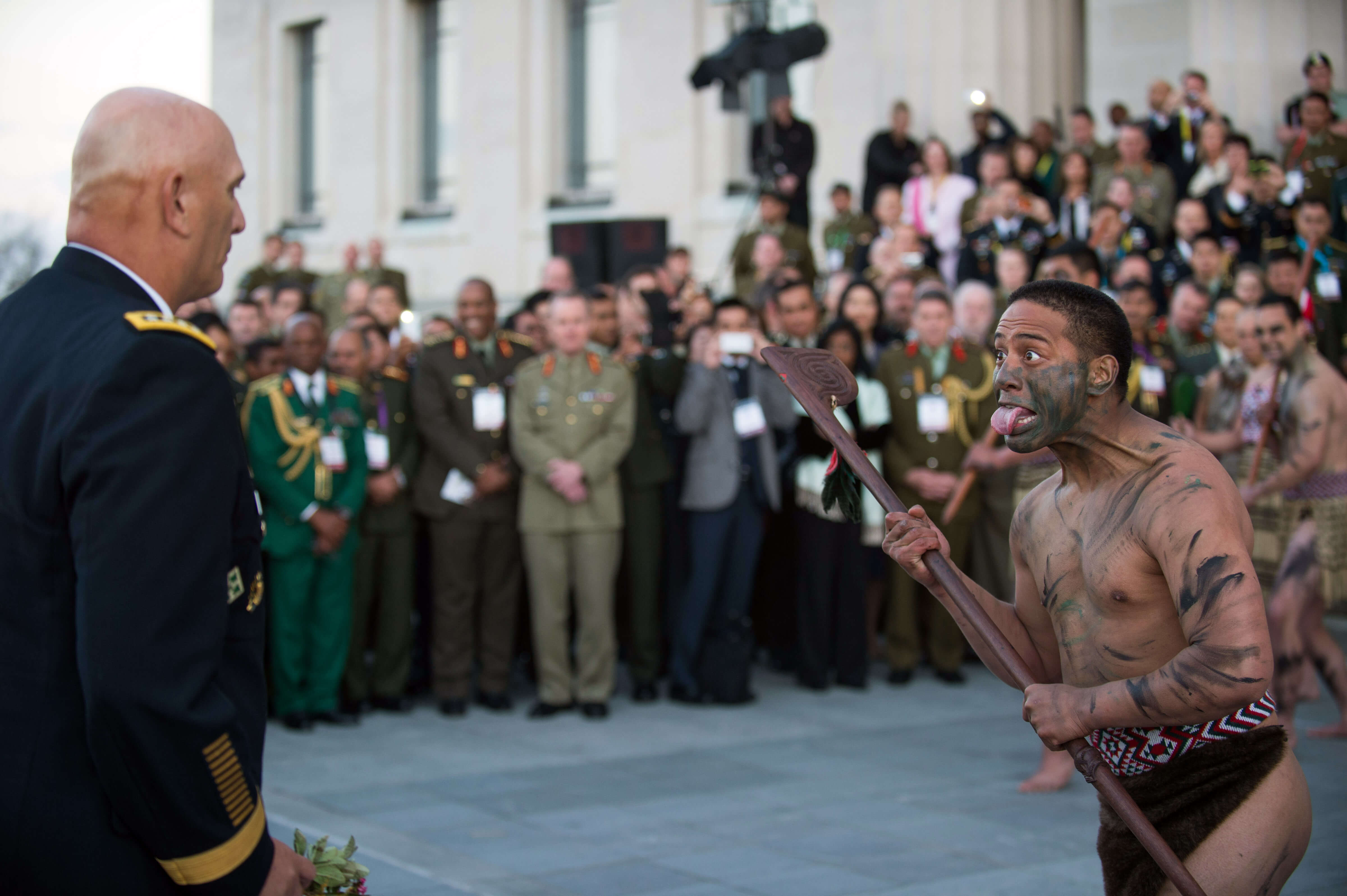 Mauri soldiers, the indigenous Polynesian people of New Zealand, perform a Powhiri ceremony for U.S. Army Chief of Staff Gen. Ray Odierno in Auckland in 2013. Source: U.S. Army