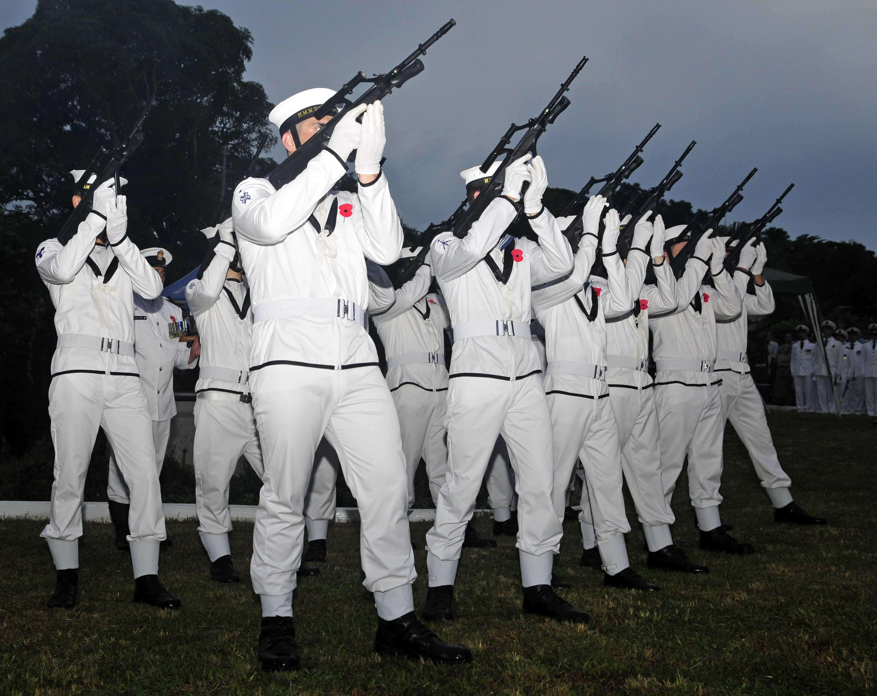 Sailors with the Royal New Zealand Navy render a gun salute during an Australian New Zealand Army Core Day celebration in 2011- US department of defense