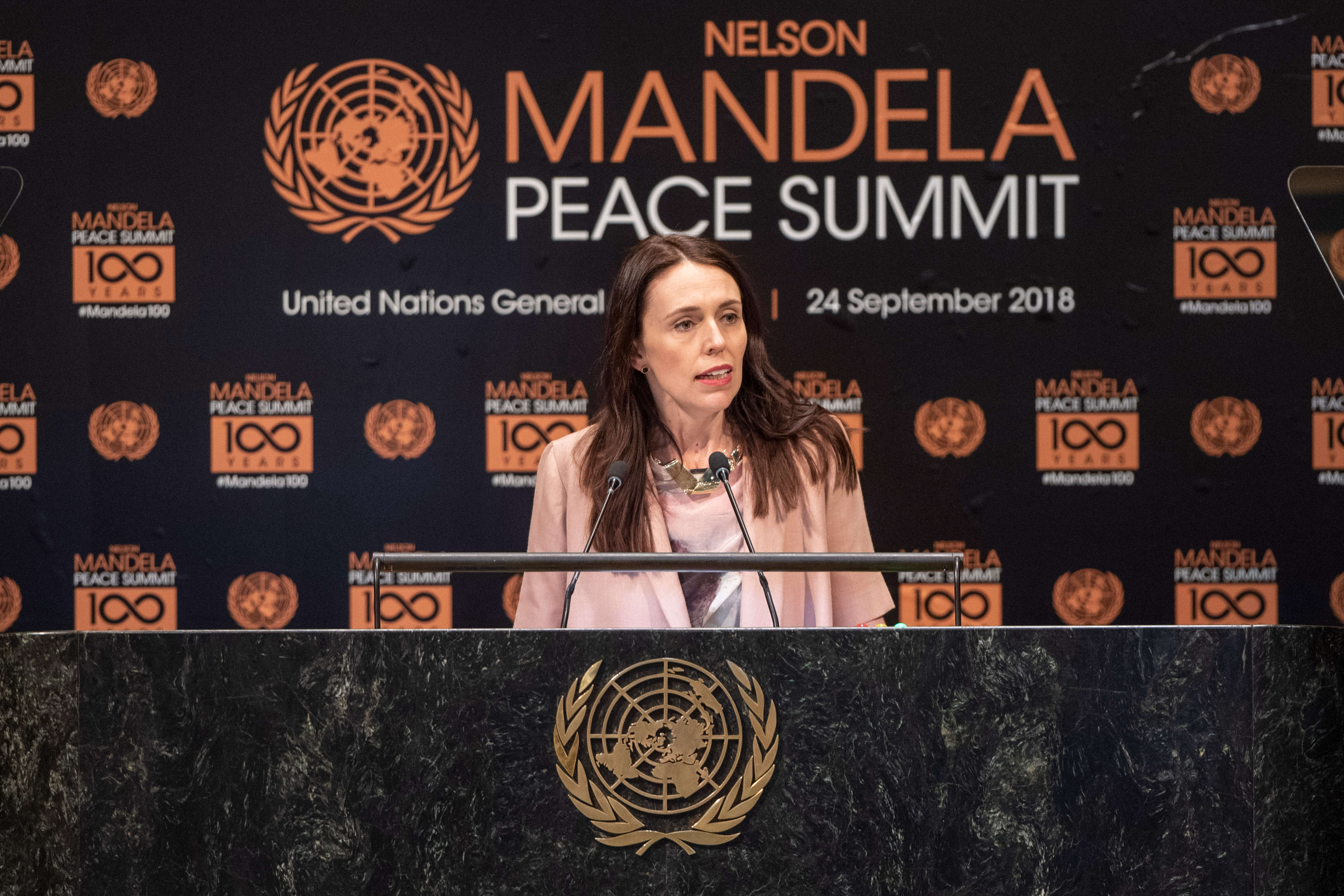 Jacinda Ardern, Prime Minister and Minister for Arts, Culture and Heritage, and National Security and Intelligence of New Zealand, makes remarks during the Nelson Mandela Peace Summit in September 2018. Source: UN Photo