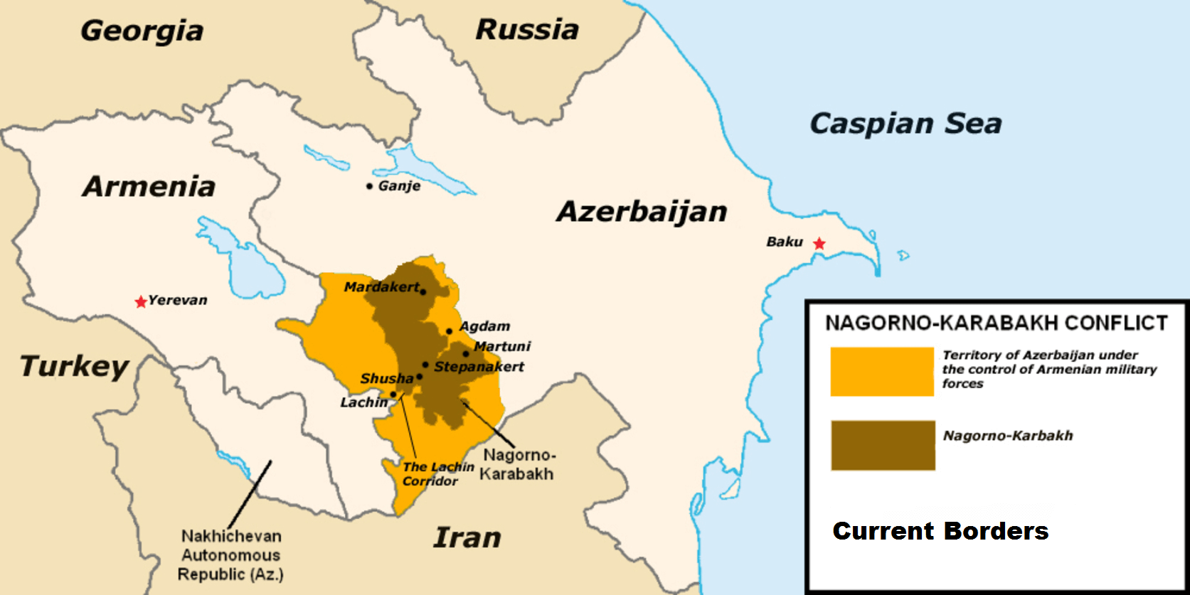 Map of the Nagorno-Karabakh conflict in 2016. Wikimediacommons