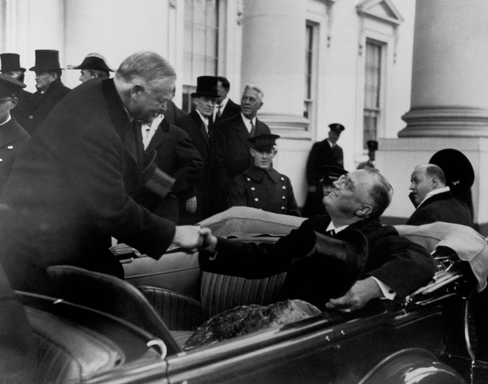 Herbert Hoover and Franklin D. Roosevelt, both president of the United States' during the financial crisis in the 1930's. ©wikimedia