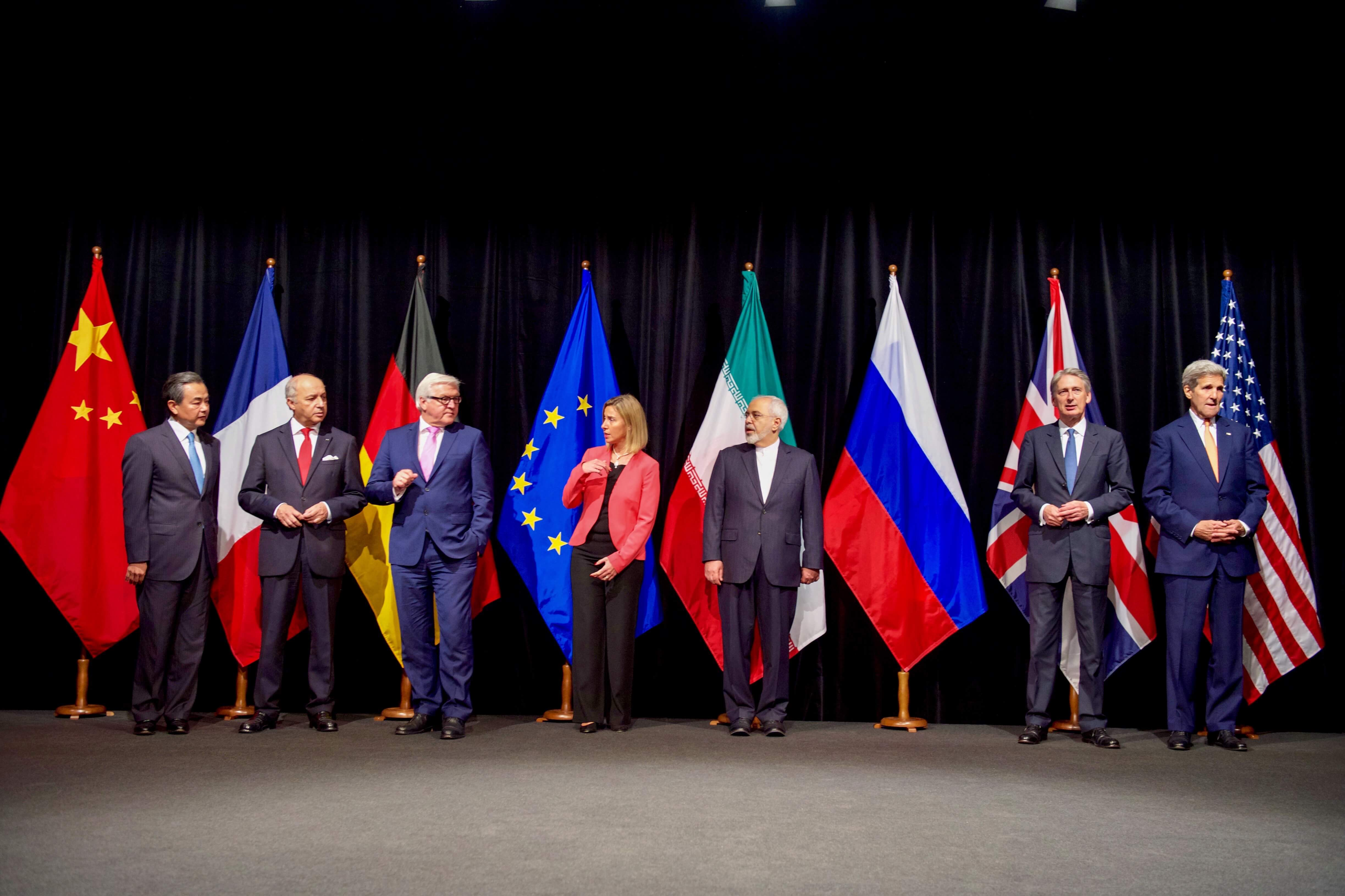 Secretary Kerry posed with his fellow E.U., P5+1, and Iranian counterparts in Vienna, Austria, on July 14 2015 after the announcing of the agreement with Iranian.
