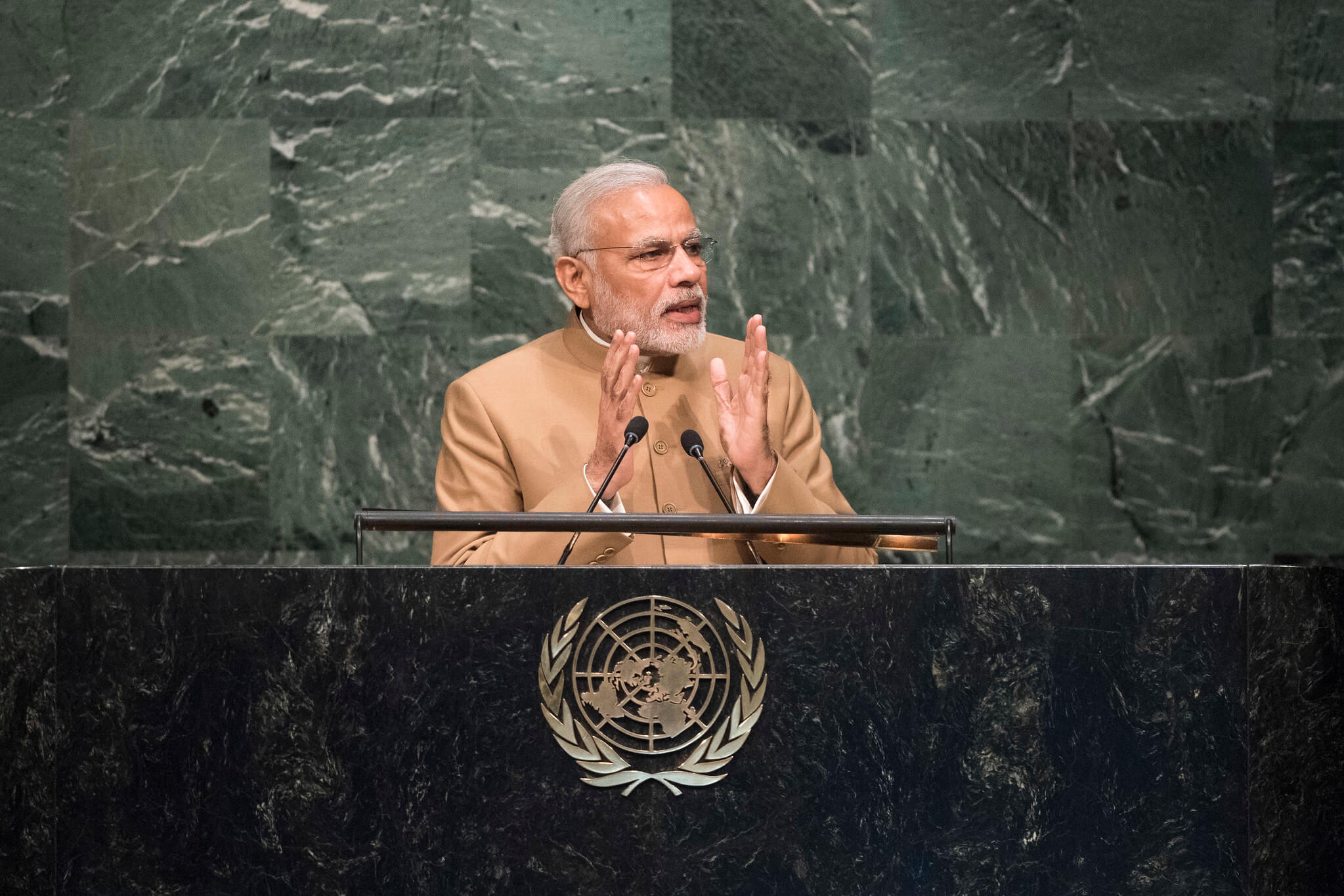 De Indiase president Narendra Modi bij de VN in 2015. © United Nations Photo