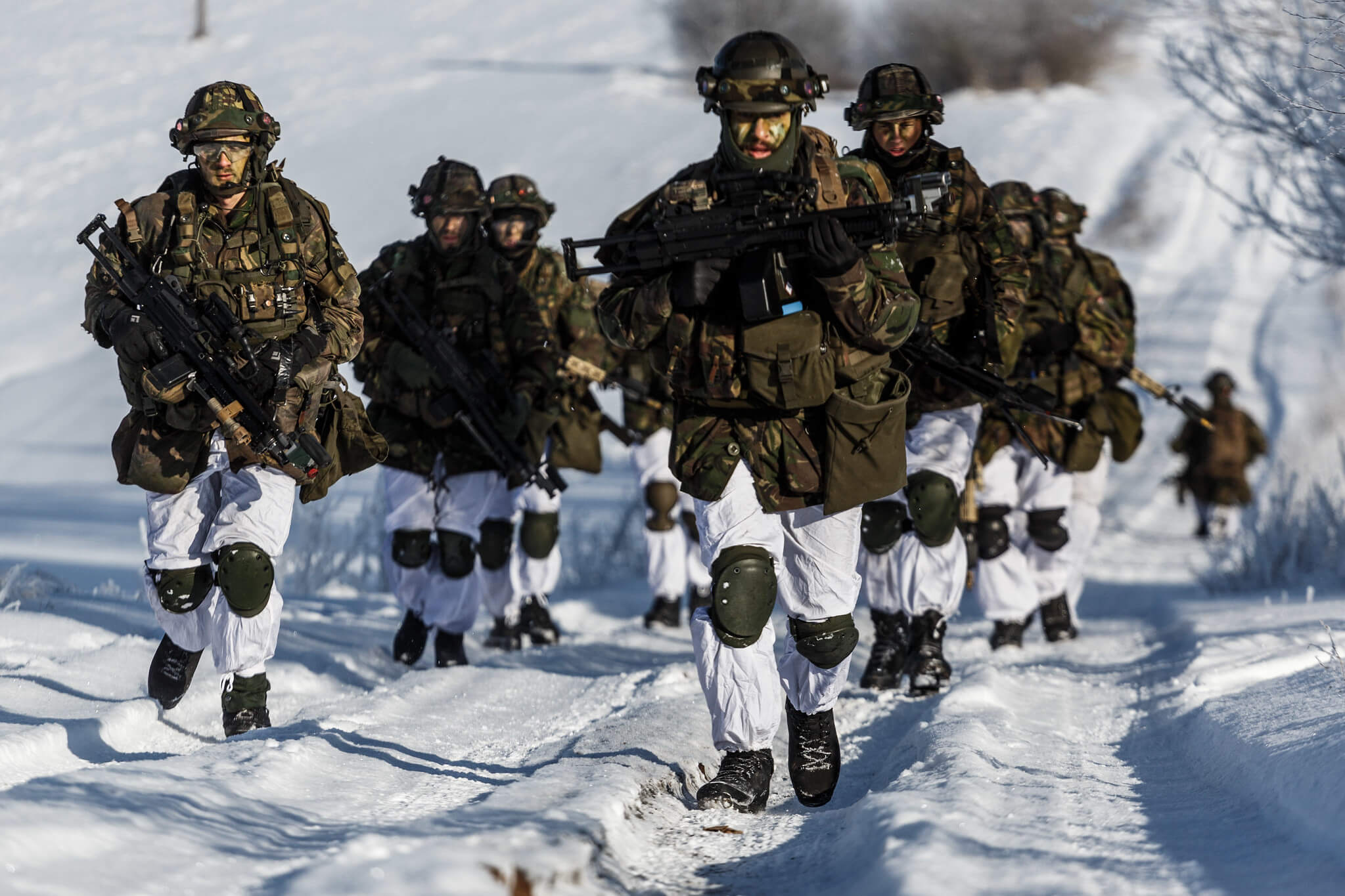 Boxhoorn-Dutch soldiers march through the Lithuanian countryside during Exercise Scorpion Strike, held by NATO forces in Lithuania on Feb. 21, 2018. NATO