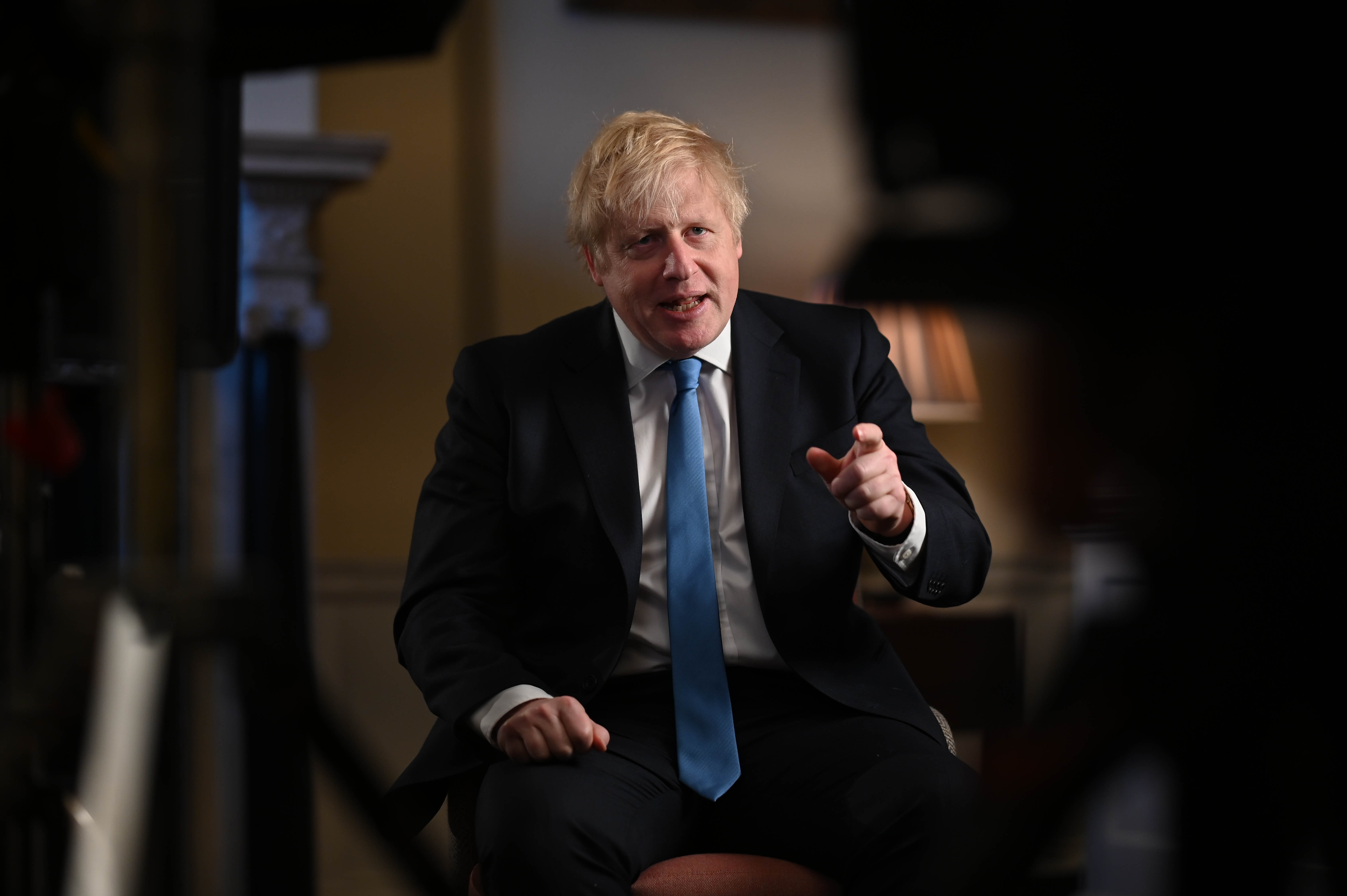 Prime Minister Boris Johnson in the study at No10 Downing Street, filming his address to the Nation on leaving the EU on January 31st. © Number 10/Flickr
