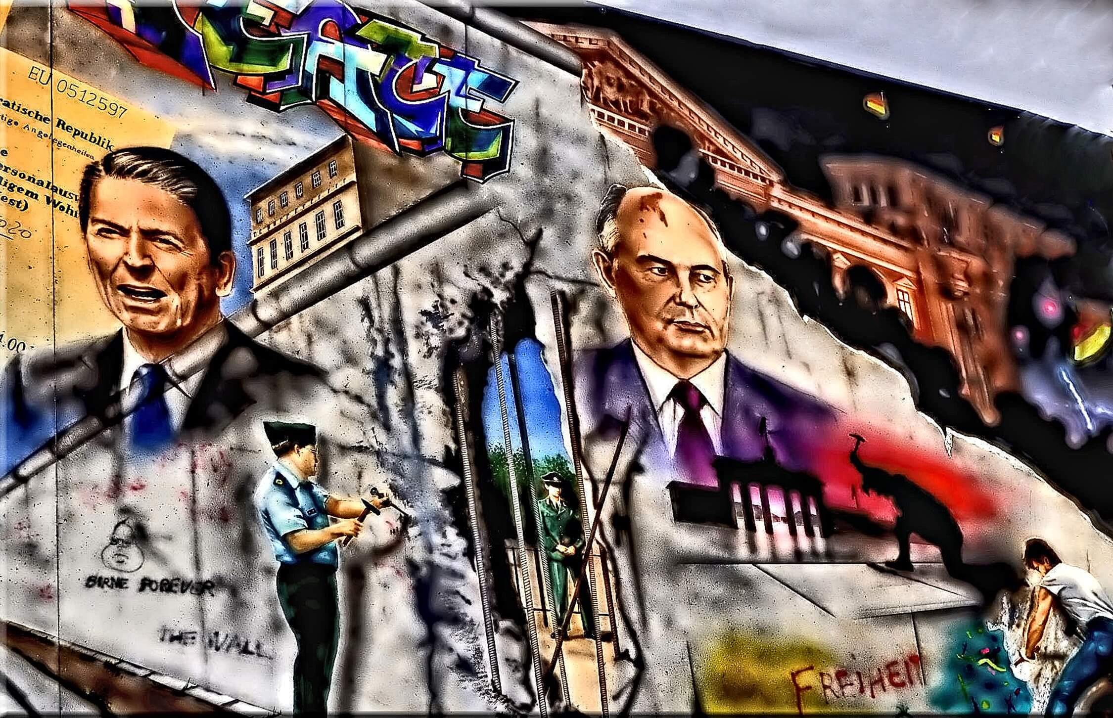 Crump-Amerikaanse President Ronald Reagan en USSR President Michail Gorbatsjov in graffiti kunst. © Pixabay