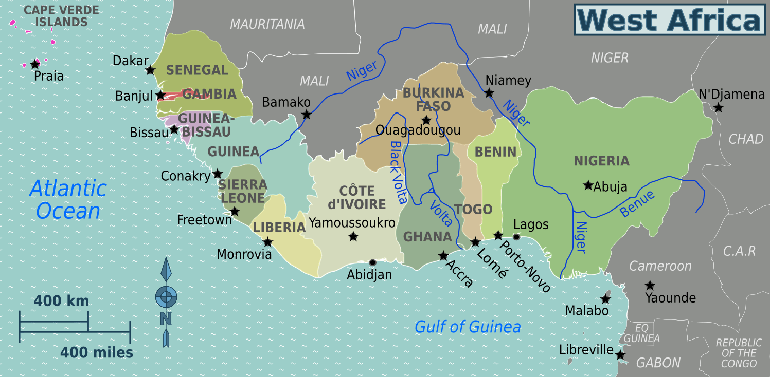 West Africa regions map