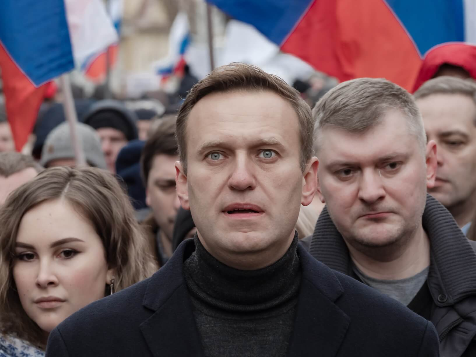 Alexei Navalni among other opposition protestors in February 2020. The protest was held in memory of opposition figure Boris Nemtsov. © Flickr / Michał Siergiejevicz