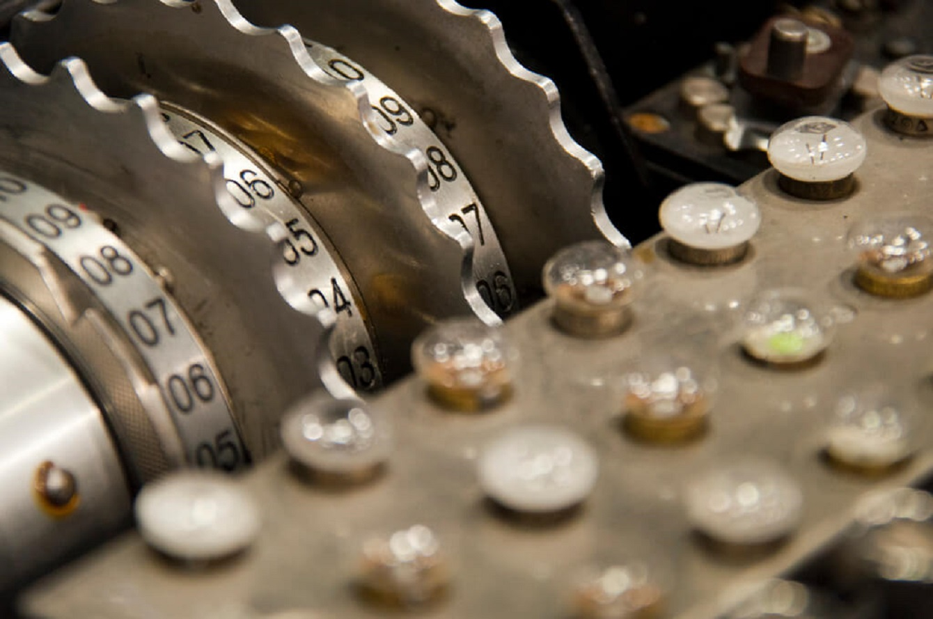 Enigma machine van de National Security Agency (NSA). © Michael Himbeault / Flickr