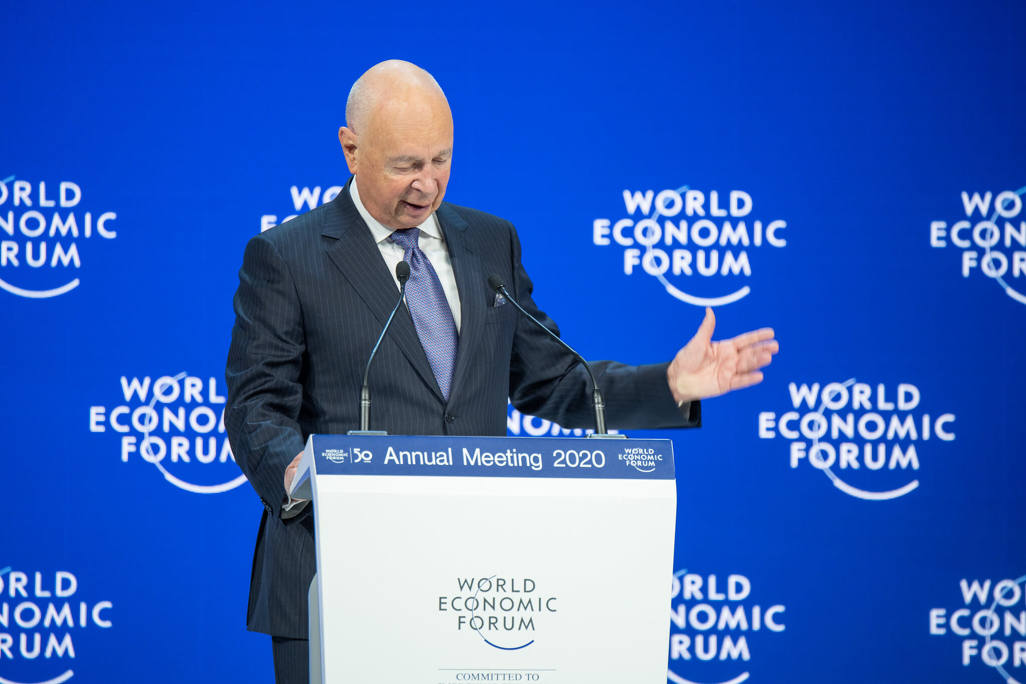 DeWit-Klaus Schwab speaking at World Economic Forum Annual Meeting, 22Jan2020-WEF-Boris Baldinger-Flickr