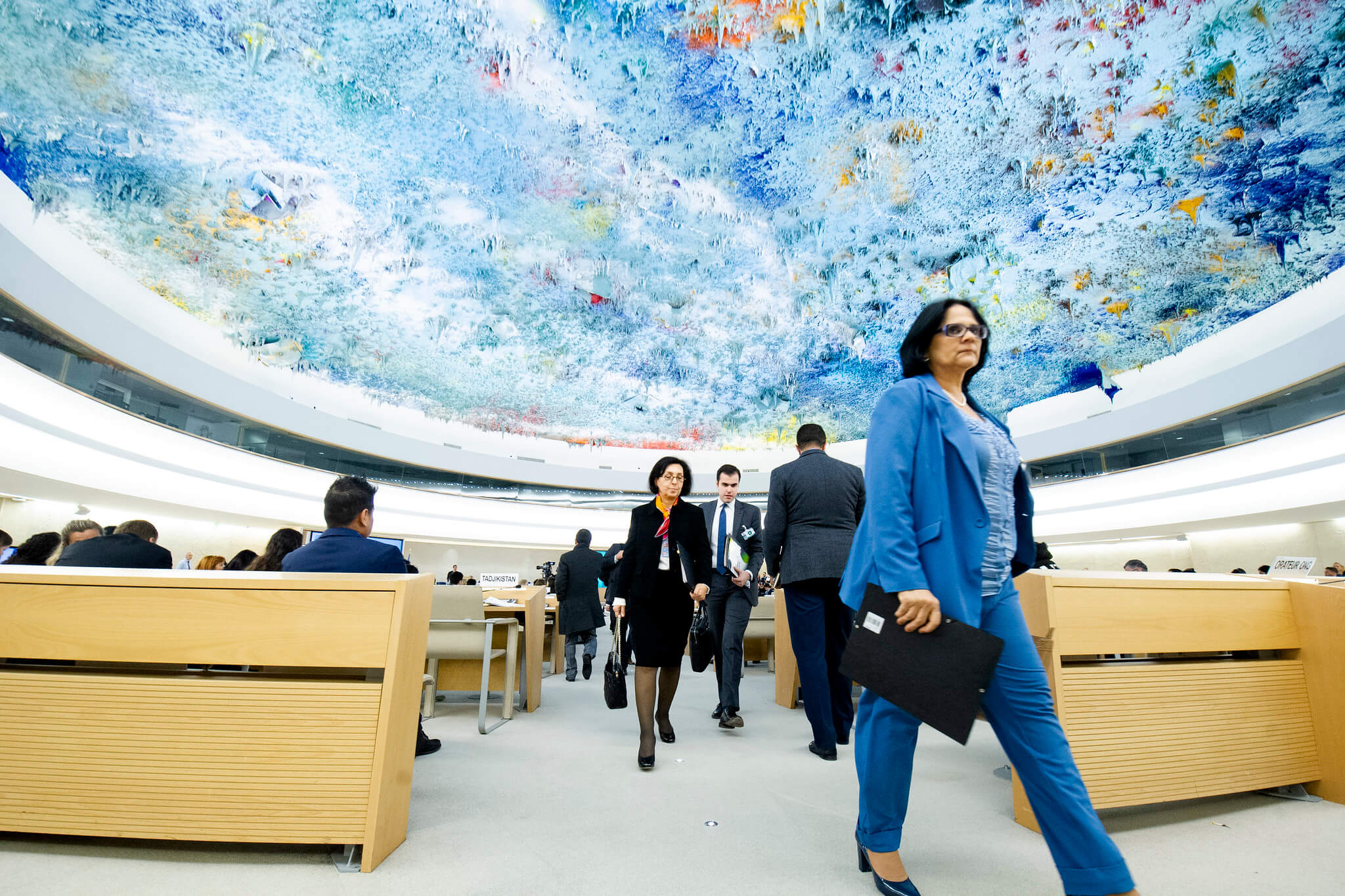 Delegates leave the room during the speech of Jorge Arreaza Montserrat, Minister of People's Power for Foreign Affairs of Venezuela, Human Rights Council. 25 February 2020