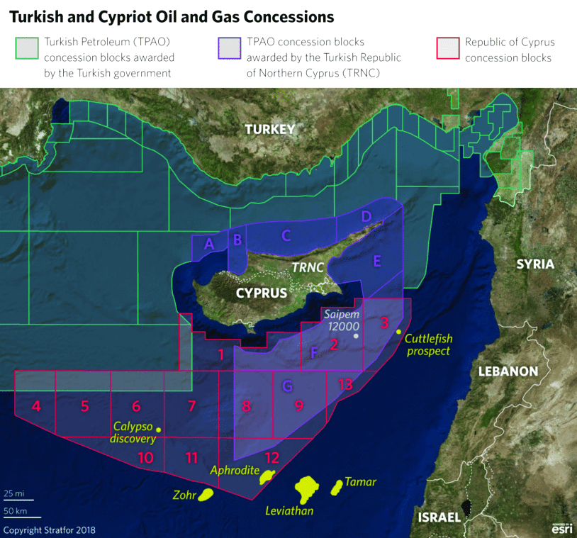 Turkish and Cypriot oil and gas concessions. © Stratfor