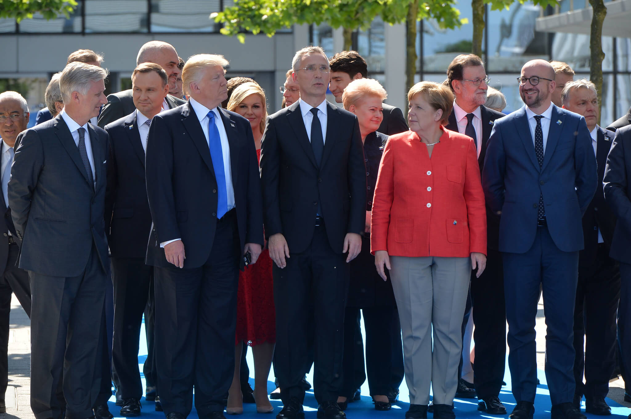Frohlich-Belgian king Philippe, President Donald Trump, NATO Secretary General Jens Stoltenberg, Chancellor Angela Merkel and Belgian Prime Minister Charles Michel at a NATO meeting in May 2017. NATO