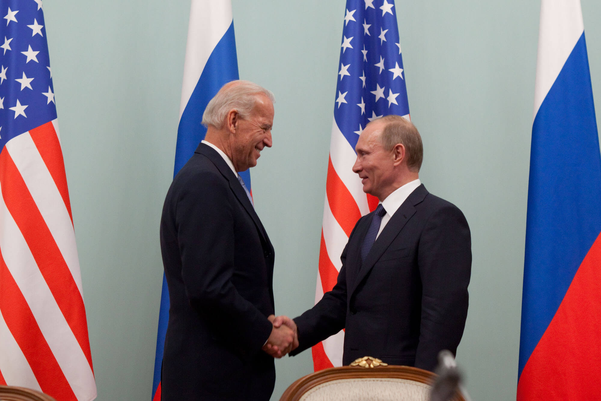 Vice President Joe Biden greets Russian Prime Minister Vladimir Putin at the Russian White House, in Moscow, Russia, March 10, 2011. (Official White House Photo by David Lienemann)