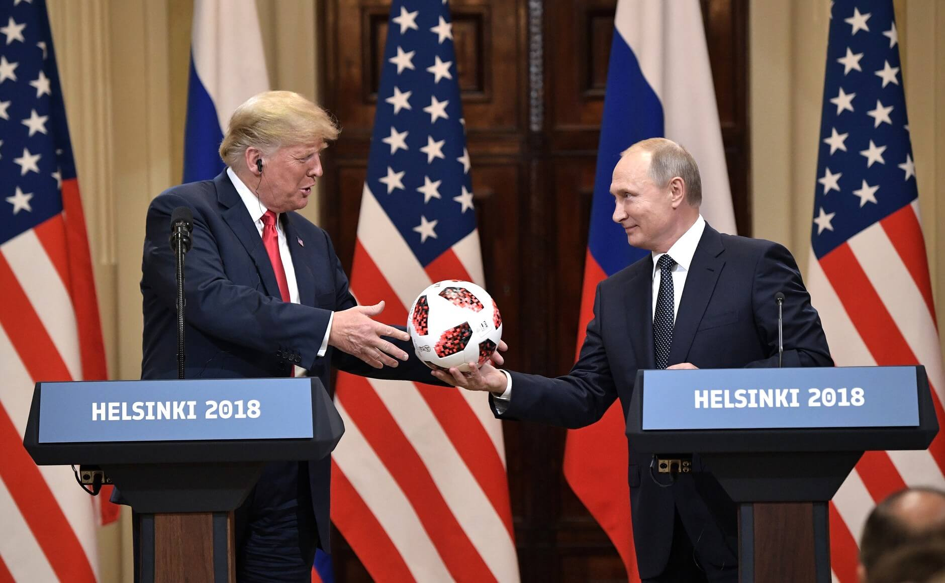 Vladimir Putin and Donald Trump in Helsinki in 2018. Wikimediacommons