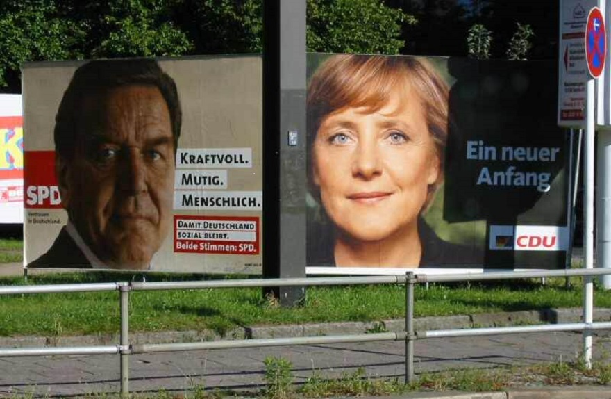 SPD- en CDU-verkiezingsposters in 2005. ©Thomas Schewe / Flickr