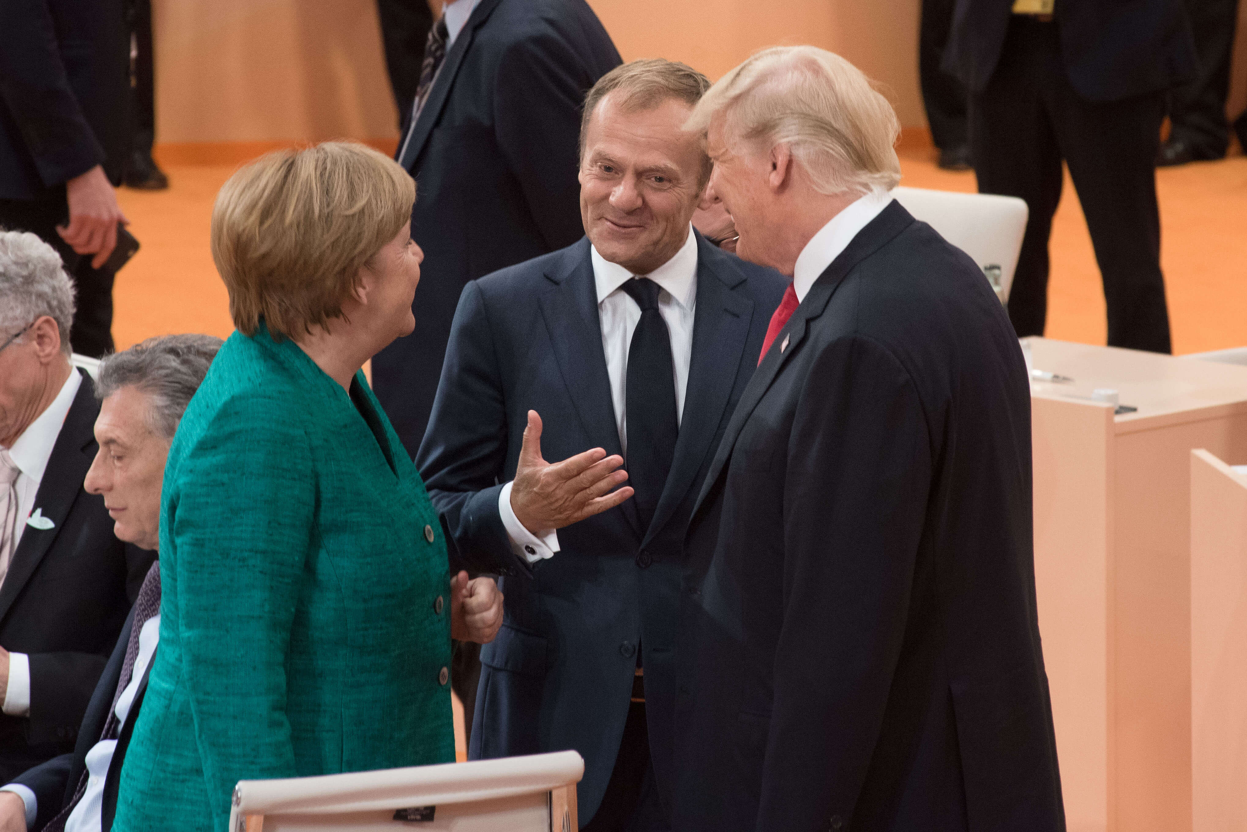 Angela Merkel met Donald Tusk en Donald Trump tijdens een G20-top in juli 2018-European Council President