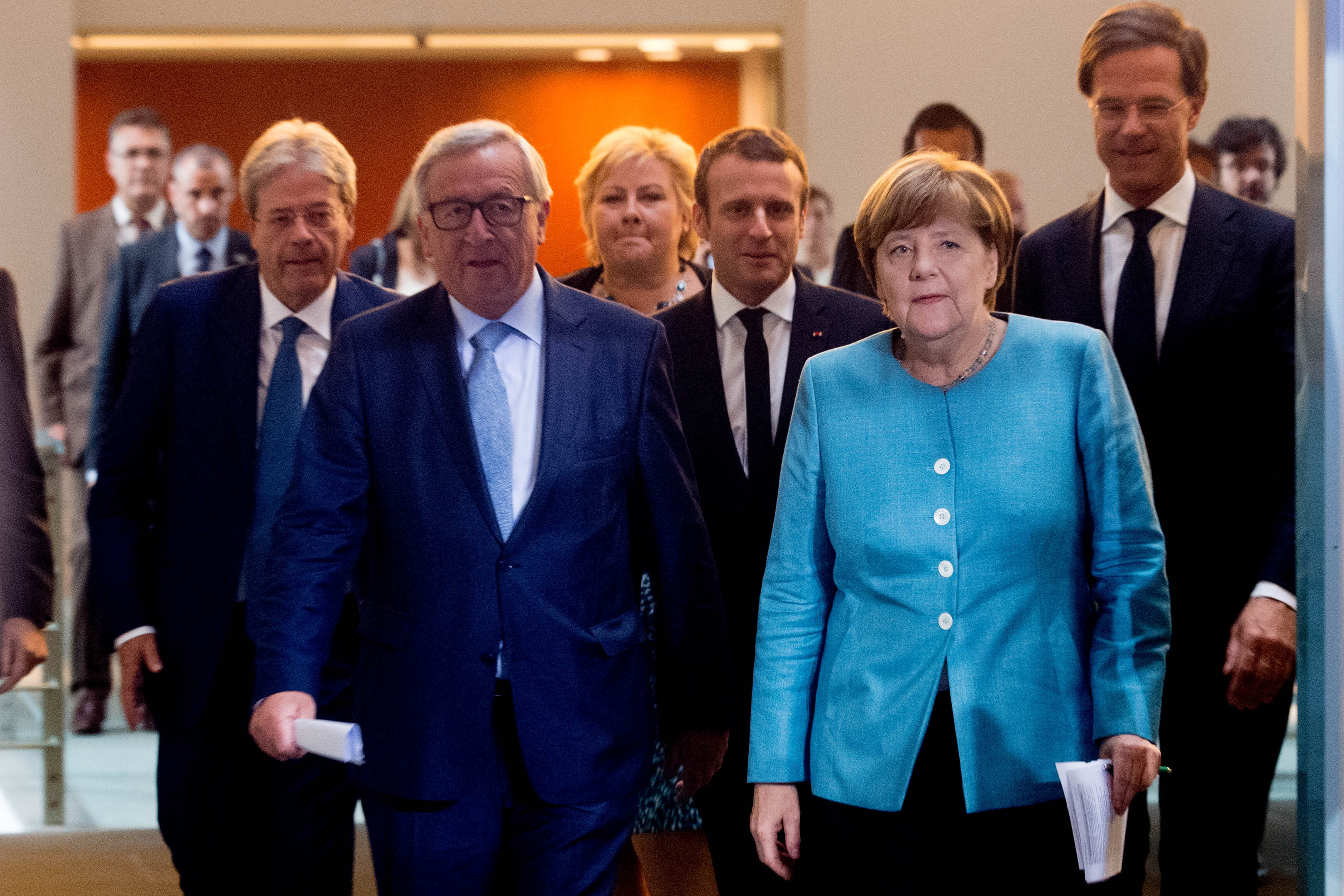 Jean-Claude Juncker with Angela Merkel, Emmanuel Marcon and Mark Rutte.
