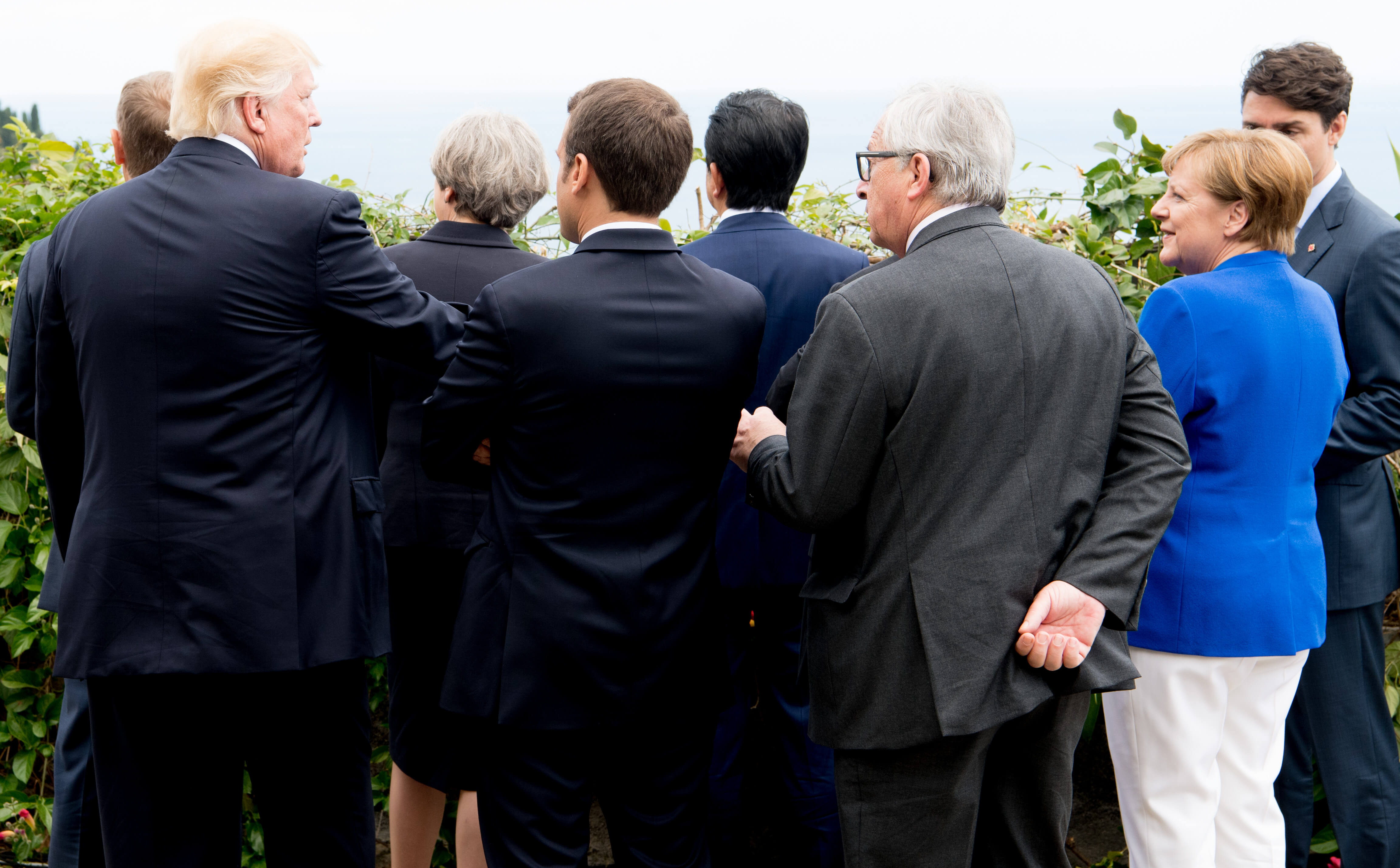 Donald Tusk, Donald Trump, Theresa May, Emmanuel Macron, Shinzo Abe, Jean-Claude Juncker, Angela Merkel and Justin Trudeau during the G7 summit in Italy 2017.