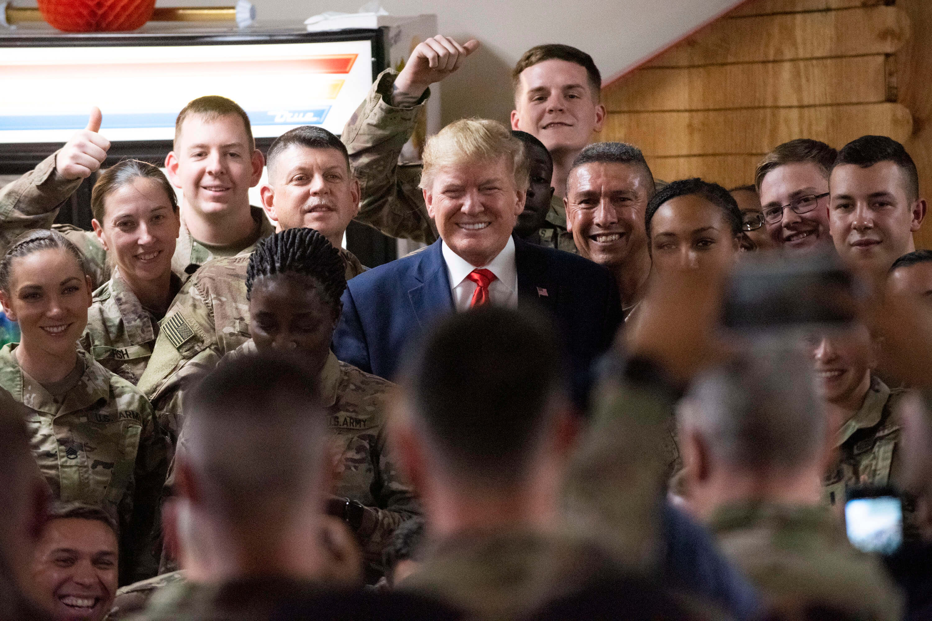 President of the United States Donald J. Trump meet with service members at Bagram Airfield in Afghanistan in November 2019. ©  Chairman of the Joint Chiefs of Staff/Flickr