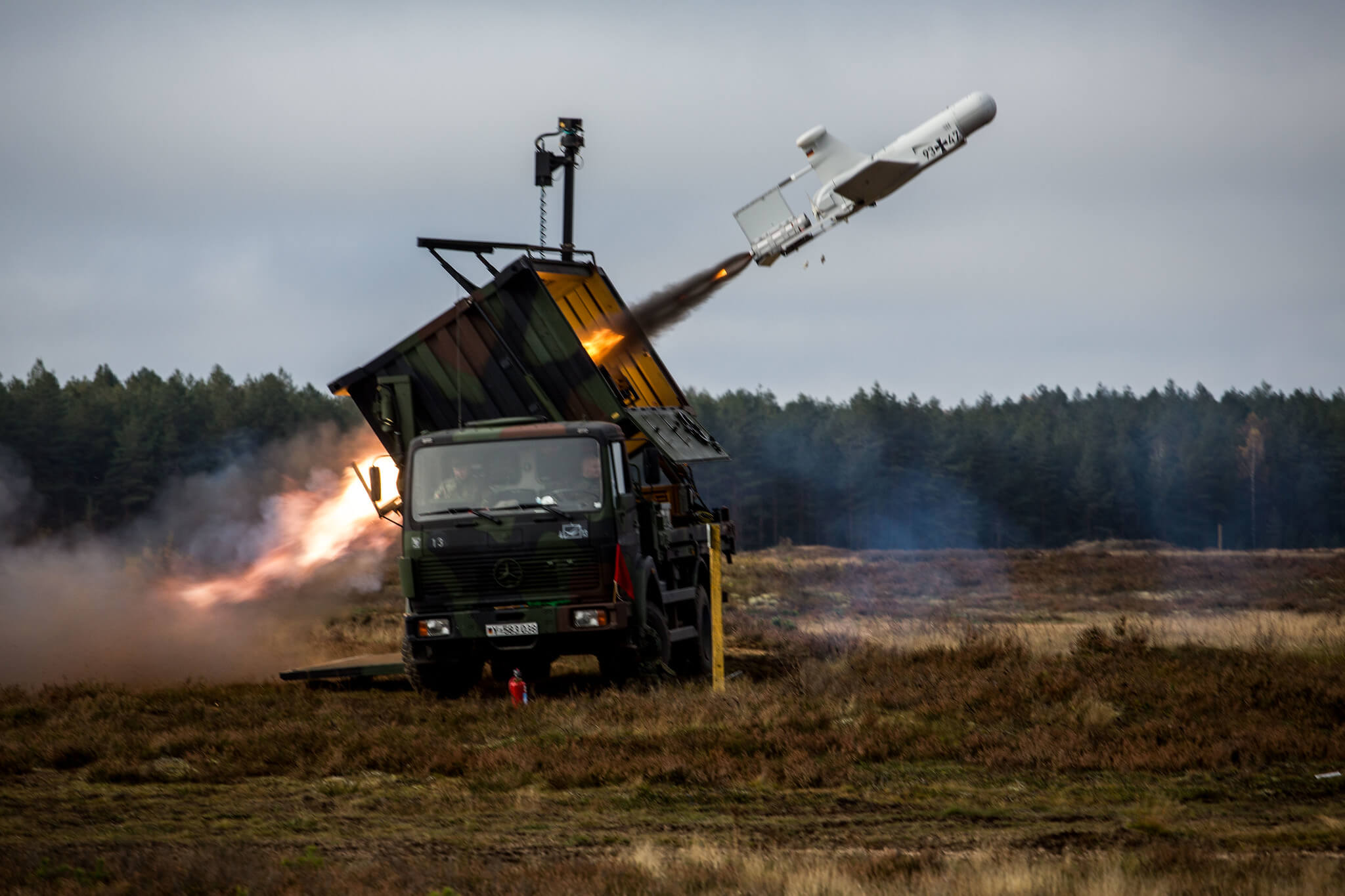 German Rheinmetall KZO drone being launched during NATO's Iron Wolf II exercise in 2017 in Lithuania. © NATO