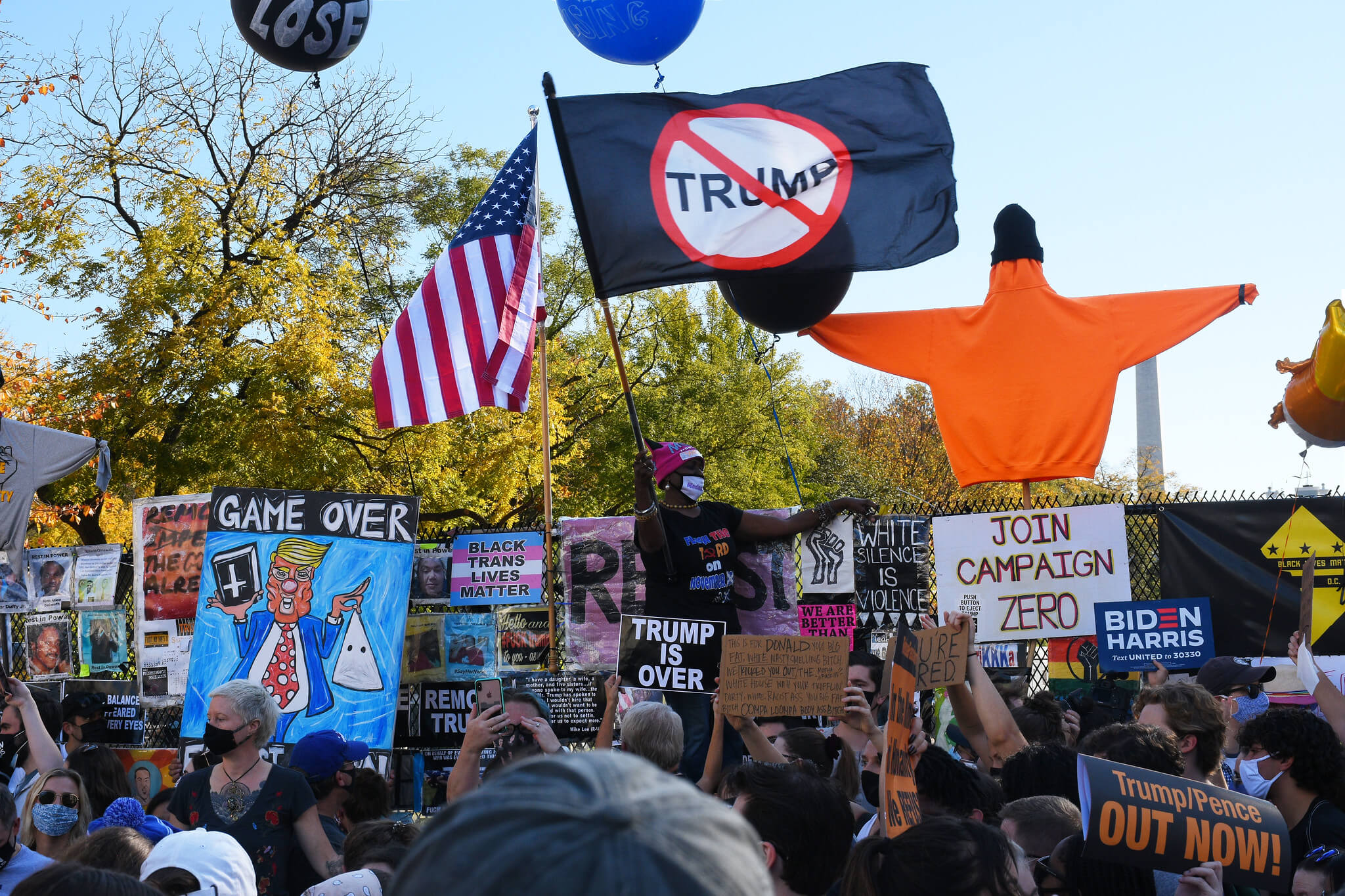 Klijn-People celebrating the presidential election results in Washington efeat of President Trump on November 7 2020.  Amaury Laporte - Flickr
