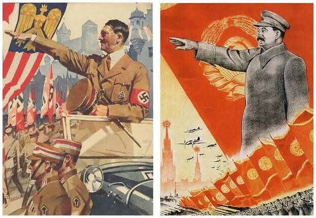 Klijn-Posters with the images of Adolf Hitler and Josef Stalin. Wikimediacommons