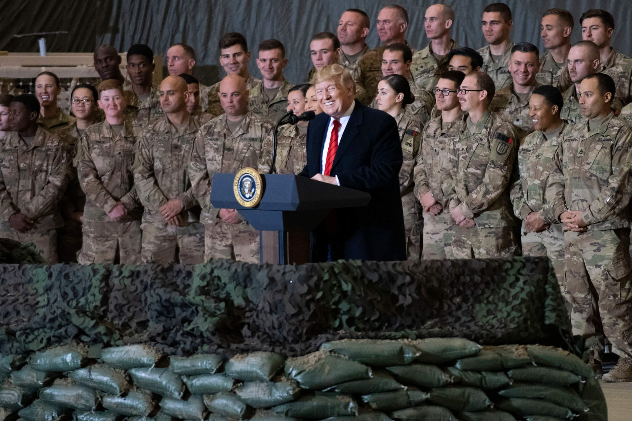 Klijn-President of the United States Donald J. Trump meet with service members at Bagram Airfield in Afghanistan in November 2019. Chairman of the Joint Chiefs of Staff