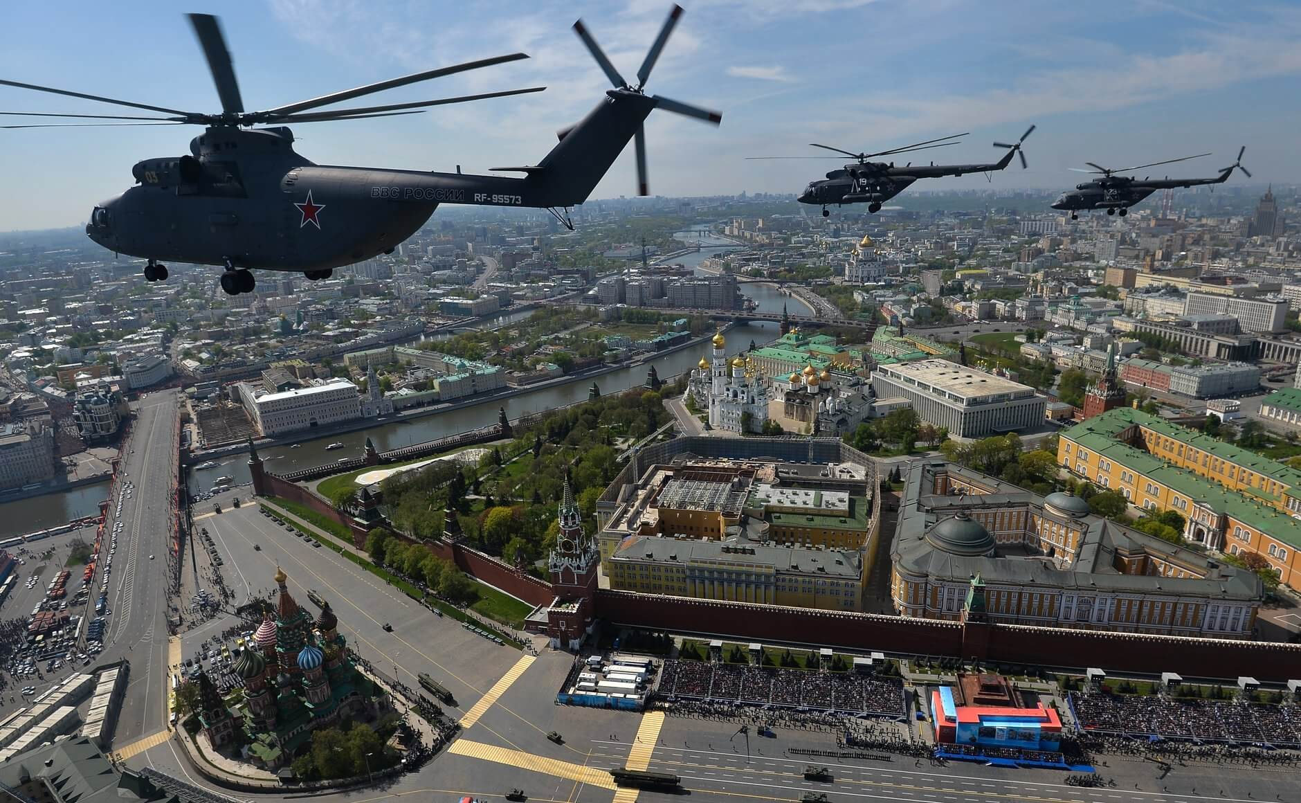 Klijn-Russian Air Force helicopters over Red Square as part of the flypast for the 2015 Victory Day Parade. Wikimediacommons