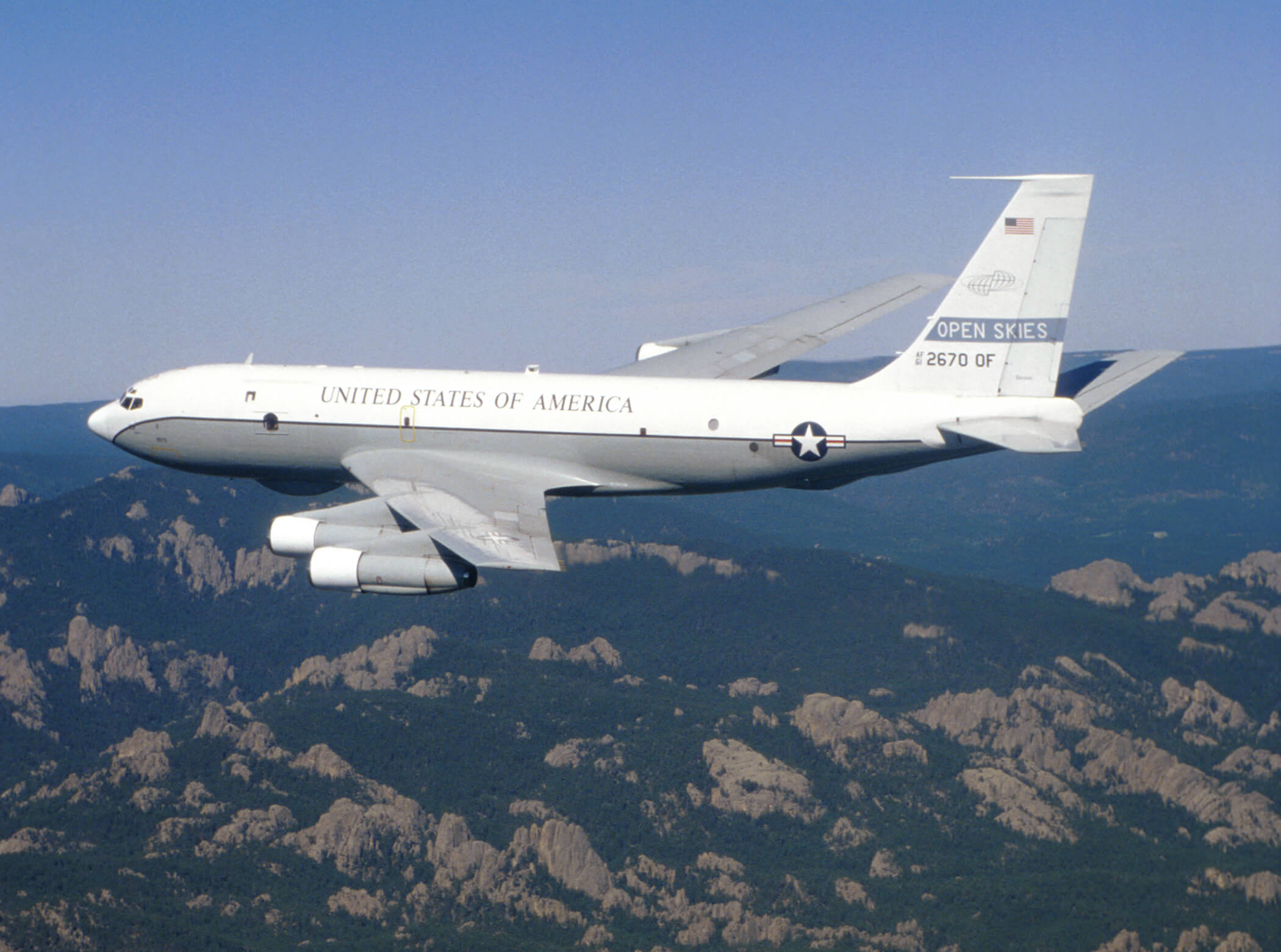 A US Air Force Boeing OC-135B aircraft used for Open Skies observation flights, 2005. © Wikimedia Commons