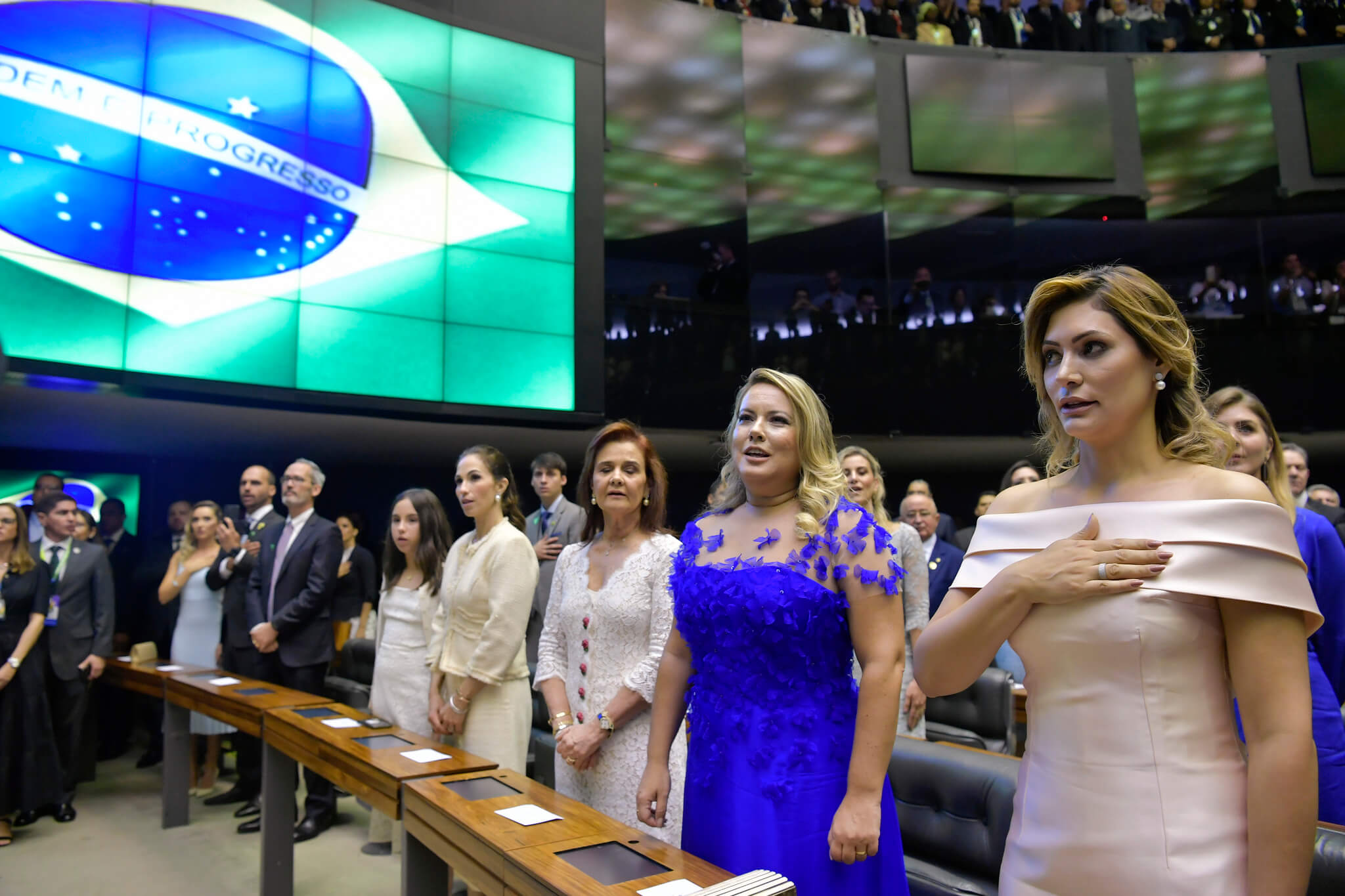 Ceremony in the National Congress during the inauguration of president Bolsonaro with on the right first lady Michelle Bolsonaro - Senado Federal