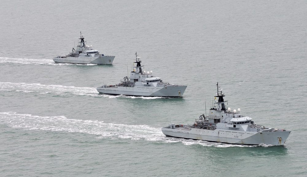River Class patrol vessels of the Fishery Protection Squadron exercising off the coast of Cornwall in 2012. Defence Images/flickr