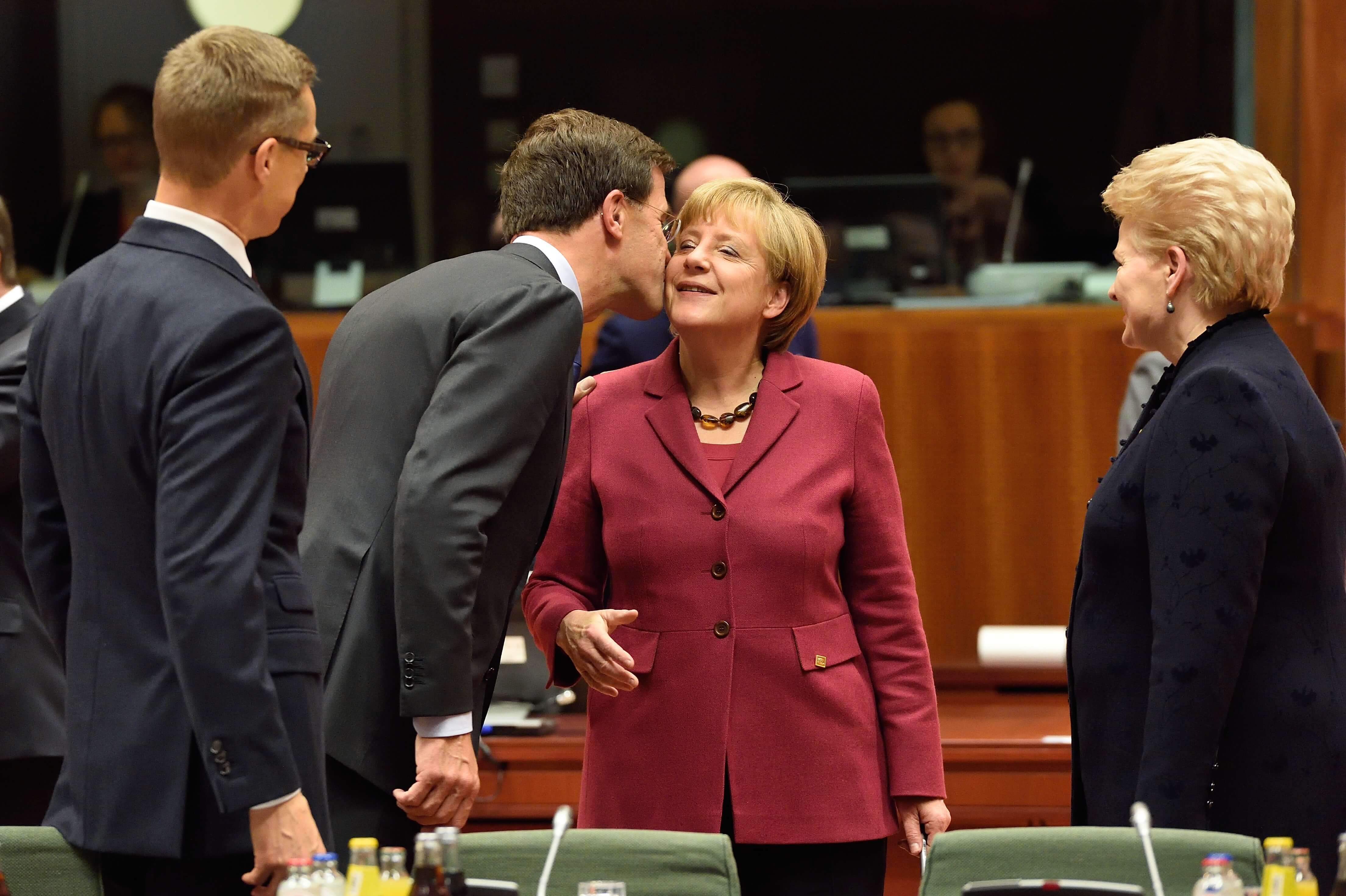 Dutch prime minister Mark Rutte and German Chancellor Angela Merkel