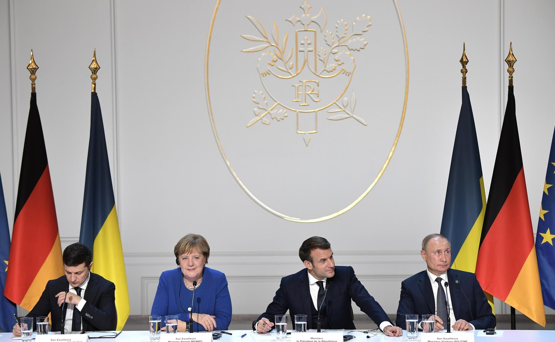 Kuzio-Volodymyr Zelensky, Angle Merkel, Emmanuel Macron and Vladimir Putin during negotiations over Crimea in Paris in 2019. Wikimediacommons