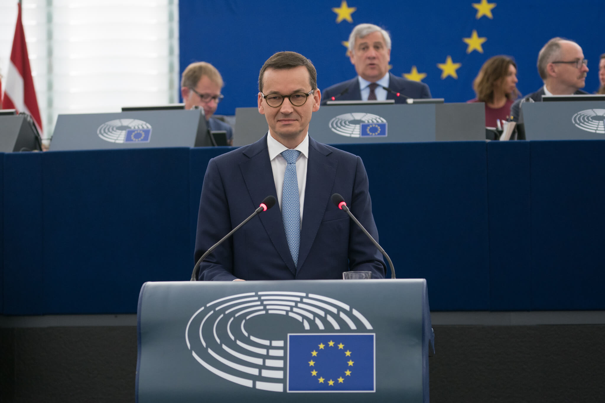 De Poolse premier Mateusz Morawiecki (links) in het Europees Parlement, 2018. © European Parliament - Flickr (2)