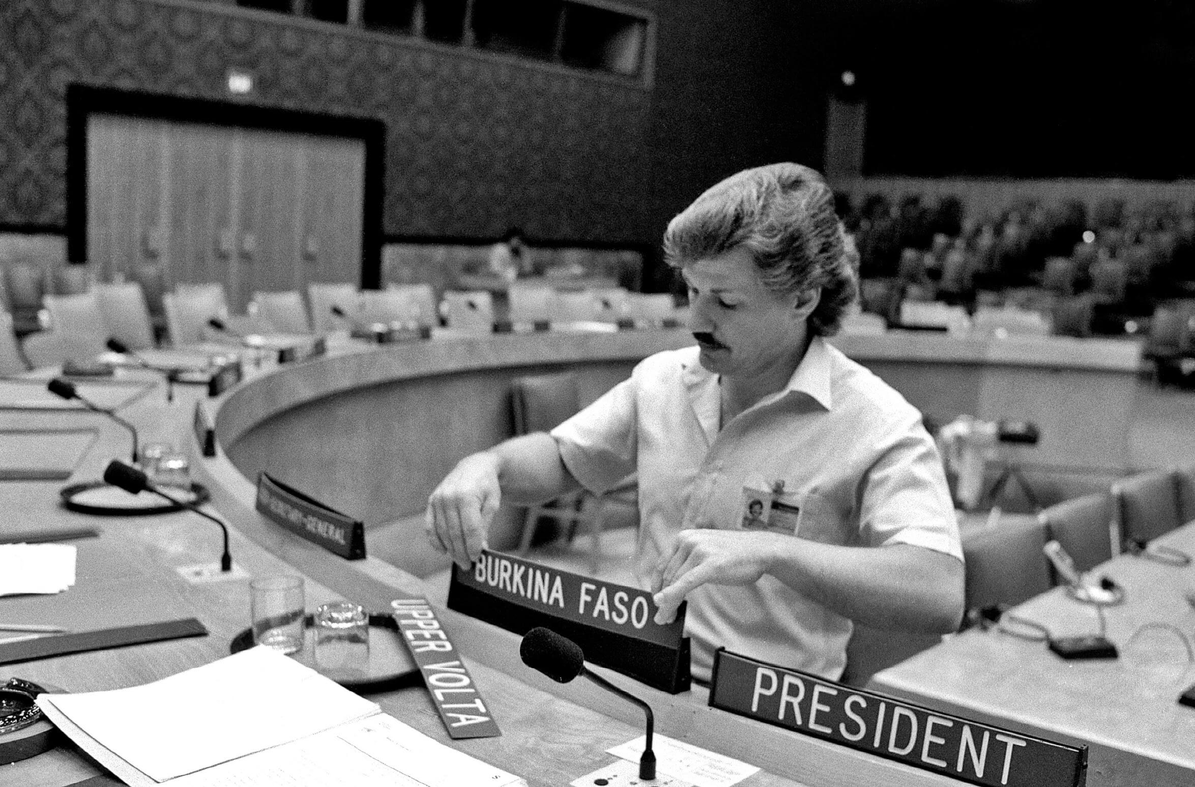 The name of Upper Volta is changed to Burkina Faso in the UN Security Council, 1984. © United Nations Photo / Flickr