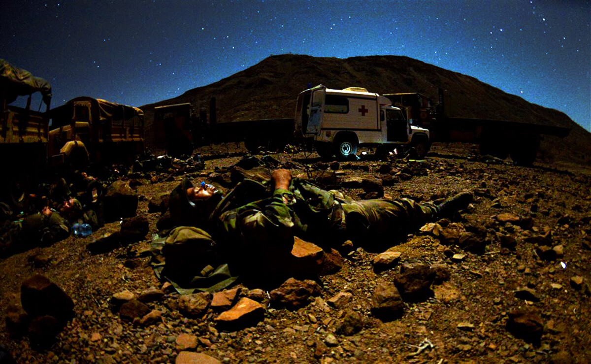 French Marines and U.S. Army Soldiers bed down during a field training exercise in Djibouti in 2016. US Army Africa