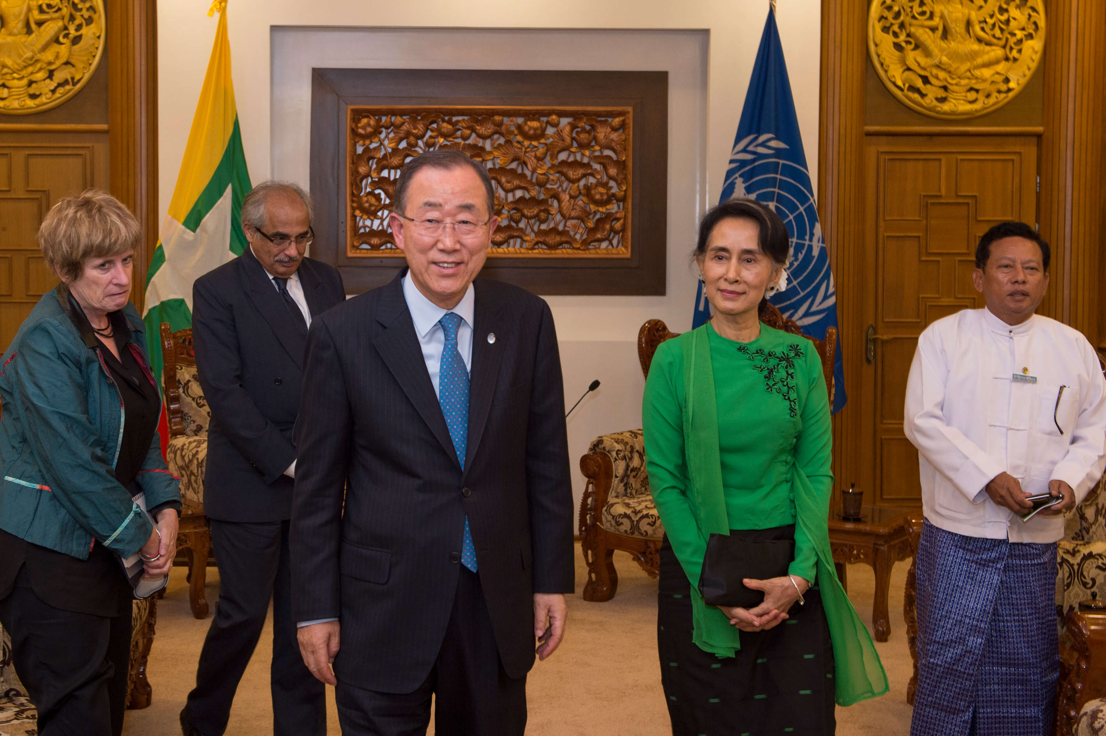 UN Secretary Ban-ki Moon meets with Aug San Suu Kyi in August 2016