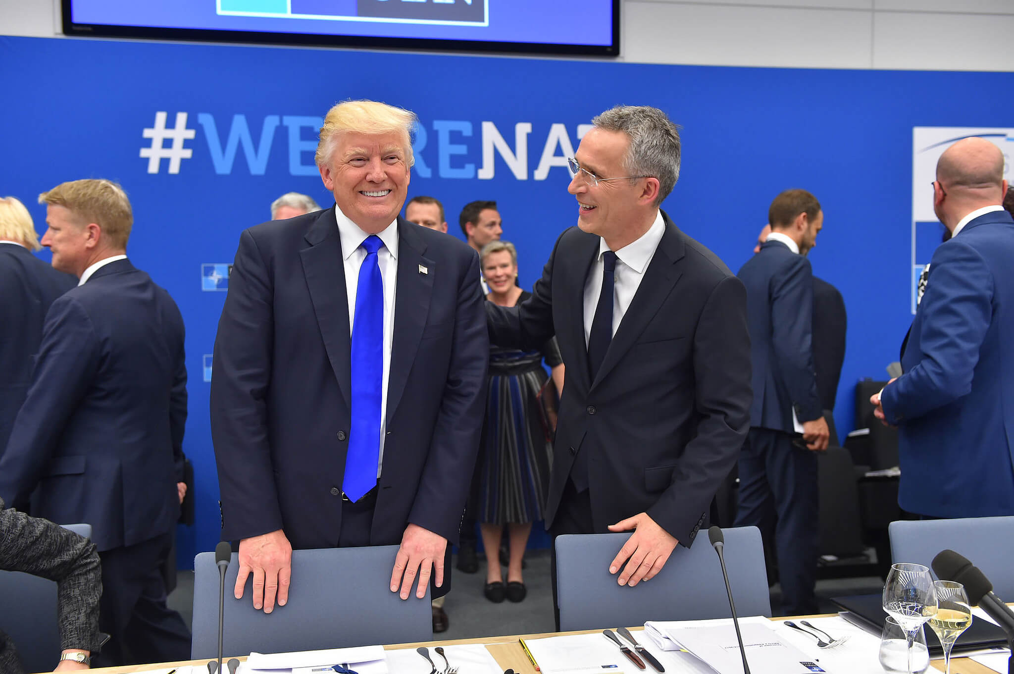 Meeting of NATO Heads of State and Government in Brussels: Donald Trump and Jens Stoltenberg. Source: NATO / Flickr.