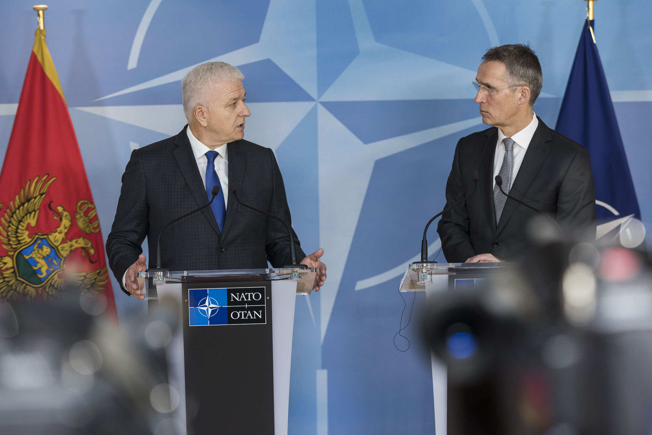 Montenegrin Prime Minister Marković and NATO Secretary General Stoltenberg. Source: NATO