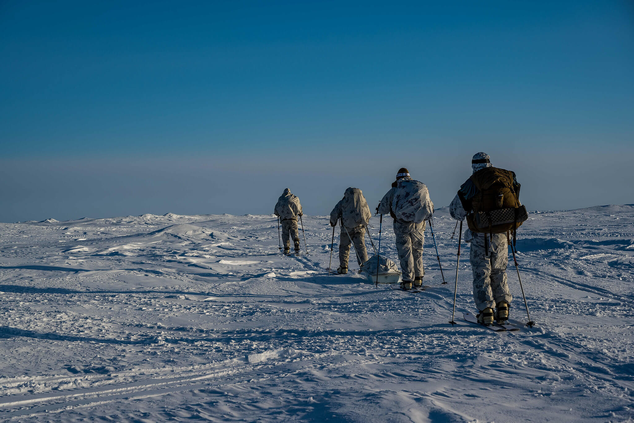 US Marines go on a ski tour outside of Ice Camp Seadragion during Ice Exercise (ICEX), Antarctica, 10 March 2020 © US Into-Pacific Command / Flickr