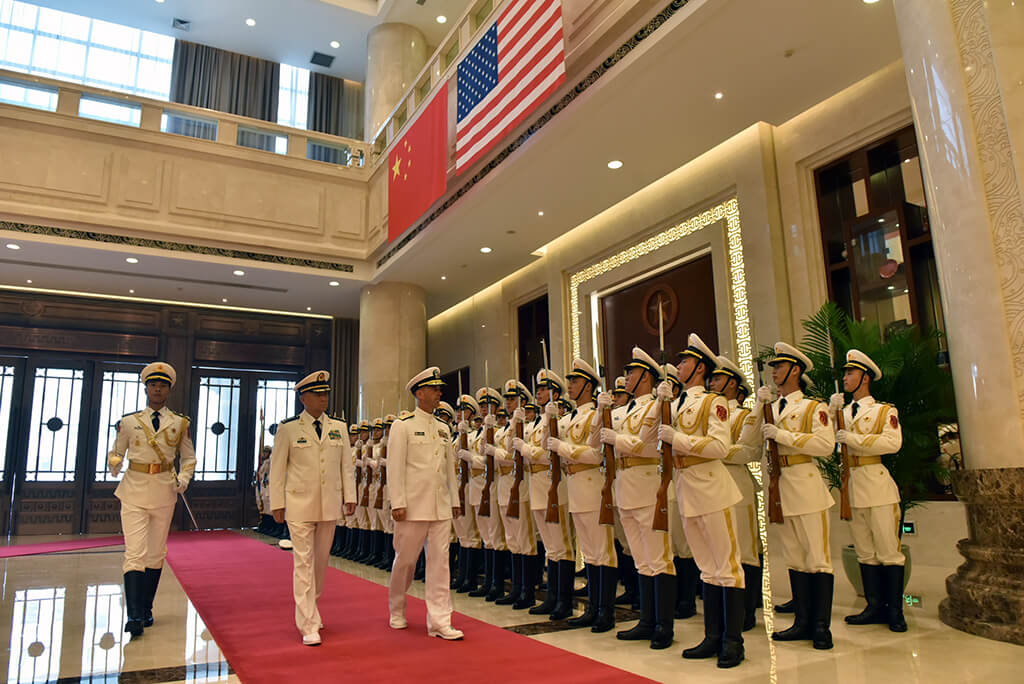 Yinhong- Chief of Naval Operations (CNO) Adm. John Richardson meets with Adm. Wu Shengli, Commander of the People's Liberation Army Navy (PLAN), at the PLAN headquarters in Beijing in Julu 2016. U.S. Indo-Pacific Command