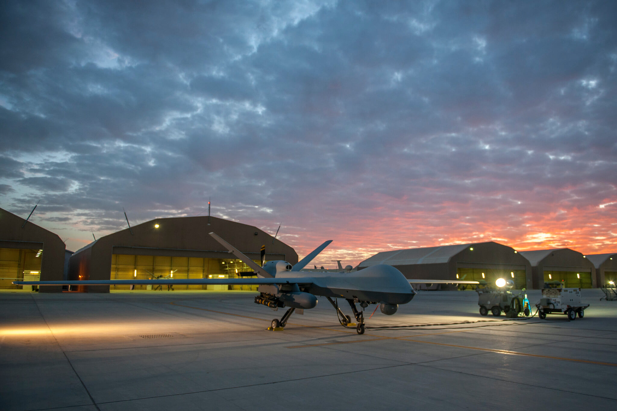 Een Amerikaanse MQ-9 reaper in 2015 op de luchtmachtbasis van Kandahar in Afghanistan. ©US Department of Defense