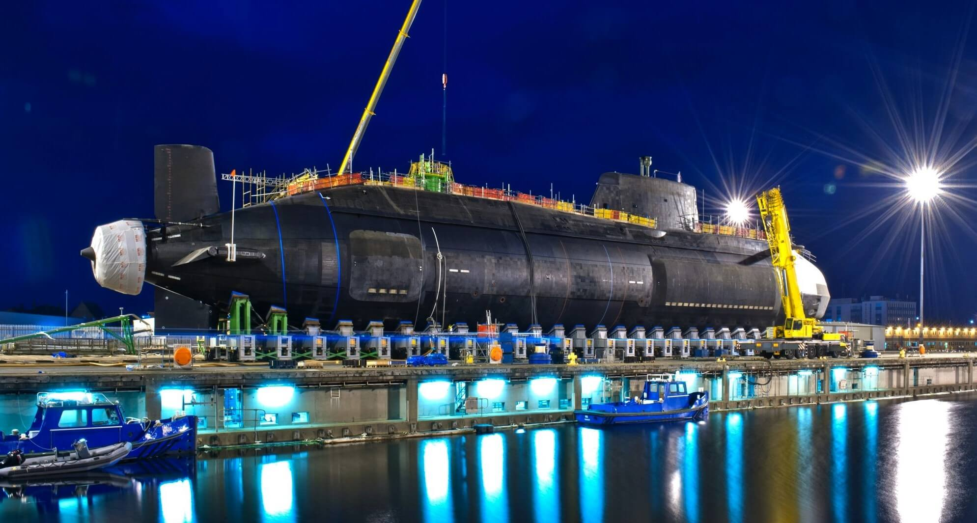 A nuclear submarine is lowered into the water at Barrow-in-Furness on Saturday, 17 May. © Defence Images / Flickr