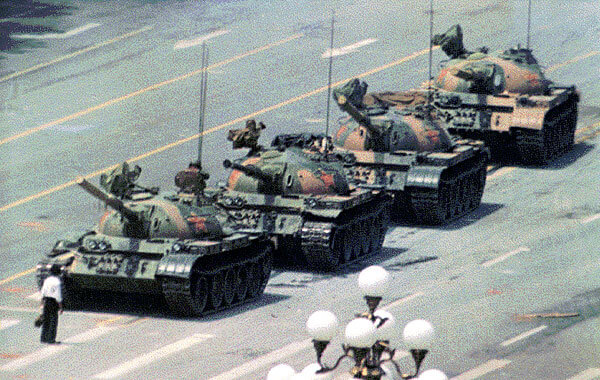 The 'Tank Man' during the Tiananmen Square protests in 1989. © Michael Mandiber/Flickr