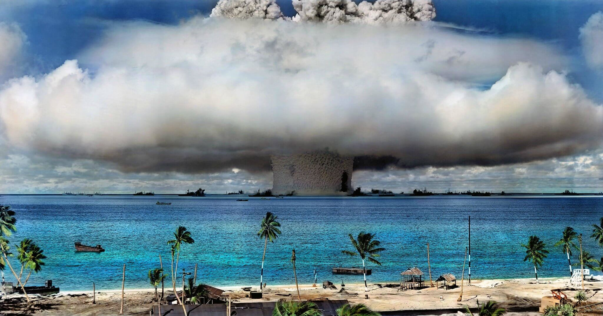 A nuclear weapon is detonated at Bikini Atoll in the Marshall Islands in 1946. (Image has been colorized.) © International Campaign to Abolish Nuclear Weapons