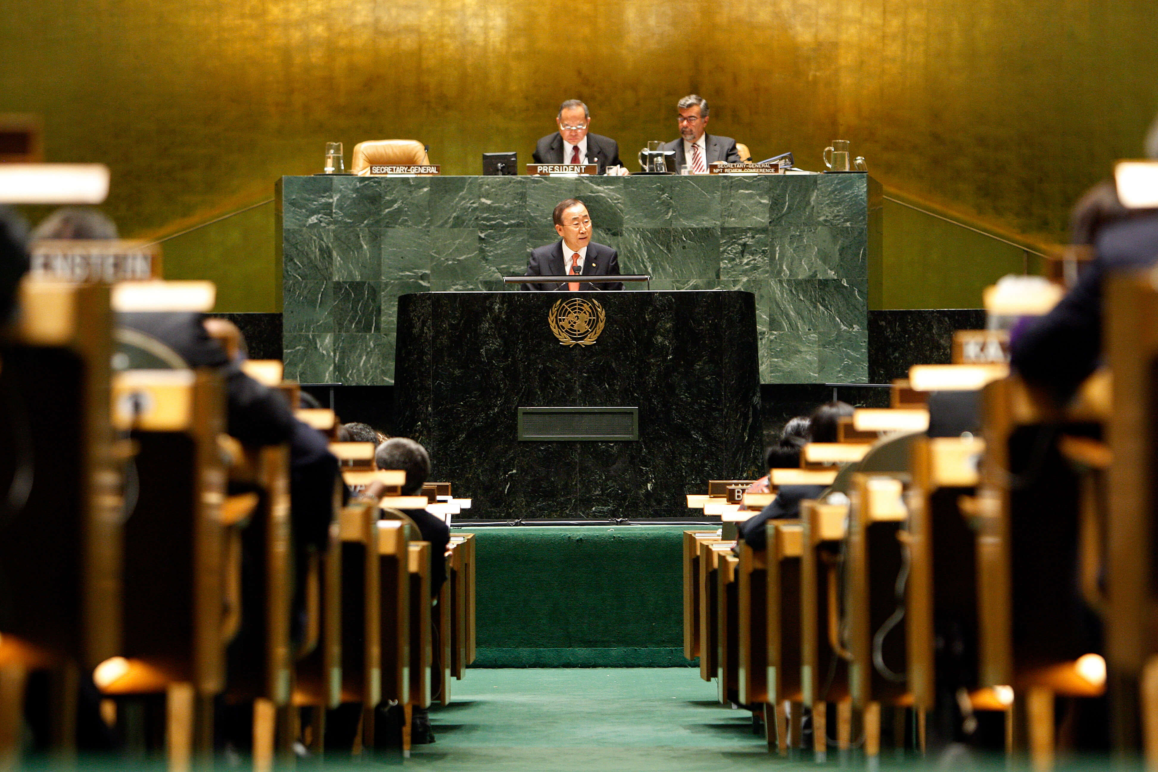 UN Secretary-General Ban Ki-moon urged nations to make nuclear disarmament targets a reality at the NPT Conference of 2010. © United Nations Photo