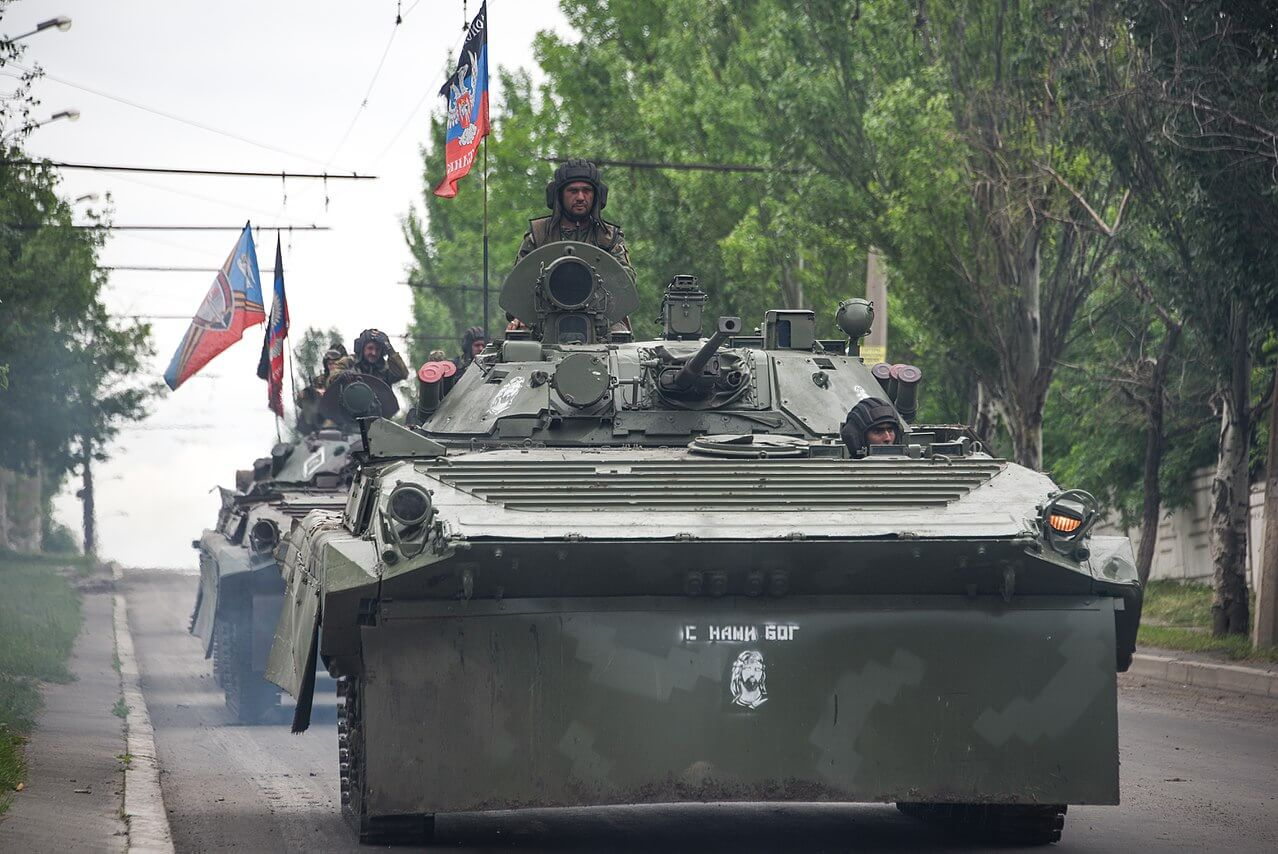 A Russia-backed rebel armored fighting vehicles convoy near Donetsk, Eastern Ukraine, May 30 2015